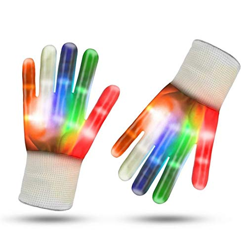 REGOU Led Gloves with Flashing Modes, Light Up Rainbow Multicolored Gloves for Raves, Party, Music Festivals, Clubs, Party and Halloween for Adults and Kids -