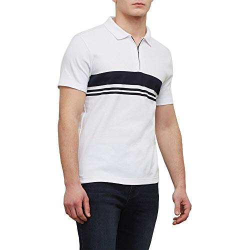 Kenneth Cole REACTION Short-Sleeve Zip Stripe Polo White