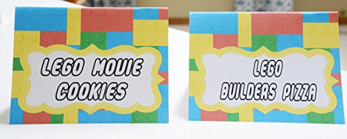 12 - Food Buffet Signs or Place Cards - Lego Inspired Happy Birthday Collection - Yellow Red Blue Green Building Block (Party City Lego Decorations)