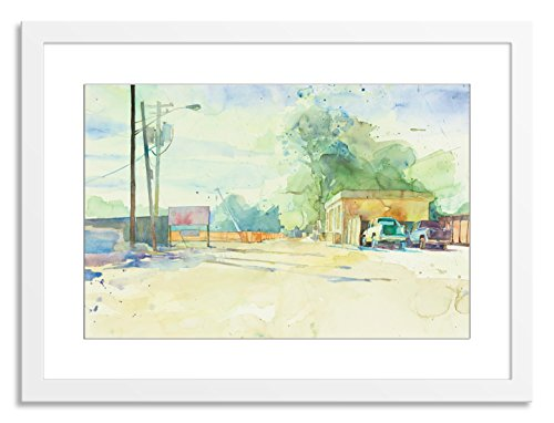 Gallery Direct Subtracting Earth Artwork on Paper by Tatara with White, Clean and Simple Frame, 37