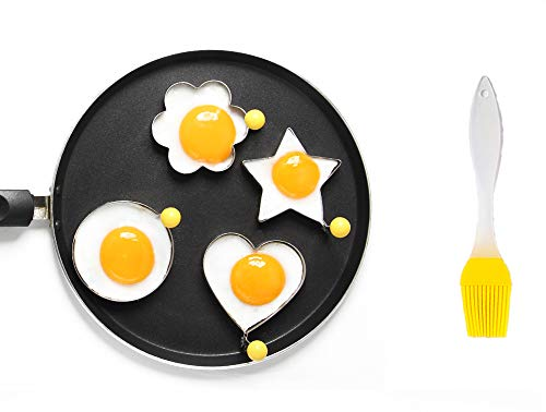 ShengHai Fried Egg Mold Ring Pancake Cooker, Nonstick Stainless Steel Egg Form for Frying Cooking, Set of 4 With 1 Free Silicone Brush
