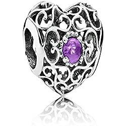 Pandora 791784sam February Signature Heart Synthetic Charm Valentine's Day Gifts Idea