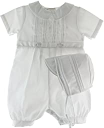 White Cotton Blend Pique Christening Baptism Knicker and Hat - Size 18 Month