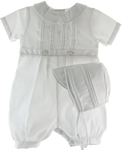 White Cotton Blend Pique Christening Baptism Knicker and Hat - Size 9 Month - White Cotton Blend
