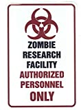 Zombie Research Facility – Funny Metal Sign for your garage, man cave, yard or wall. By Sign Dragon