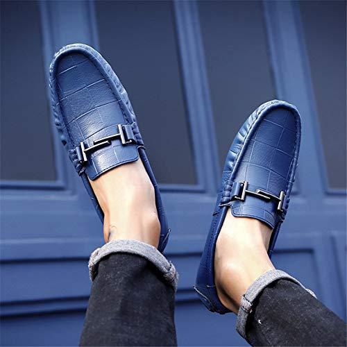 Slip Cómodos one Redondo fei Primavera blue Ligero Zapato Zapatos De Hombres Conducción Los 46 Suave Gpf Y Otoño Pie Mocasines Zapato Moda Cuero O6qxxg8