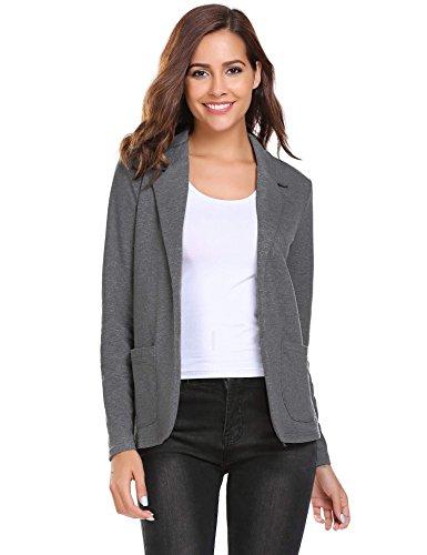 Zeagoo Womens Casual Work Office Blazer Open Front Long Sleeve Cardigan Jacket, Dark Grey, Large