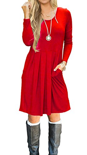 AUSELILY Women's Long Sleeve Pleated Loose Swing Casual Dress With Pockets Knee Length (M, (Red Tunic Dress)