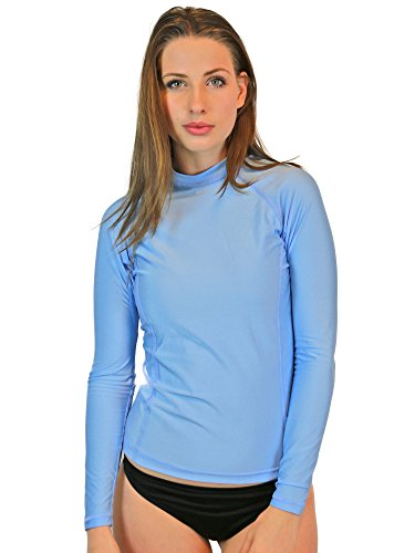 Rash Guard For Women - Long Sleeve, UV 50 Skin / Sun Protection, Swim & Workout Shirt. (Light Blue, - Reviews Swim Skin