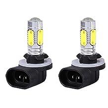 White Fog Lights, 2PCS Car Truck 881 6500K HID White 5 COB LED Fog Lights DRL Bulbs 886 894 896 898 H27W/2