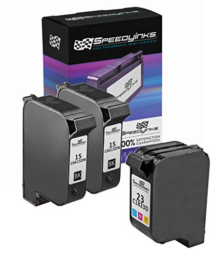 Speedy Inks Remanufactured Ink Cartridge Replacement for HP 15 & HP 23 (2 Black, 1 Color, 3-Pack)