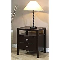 Aristo 2-Drawer Elegant Nightstand with Storage and Shelf, Modern Bedroom Furniture with Rich Brown Finish