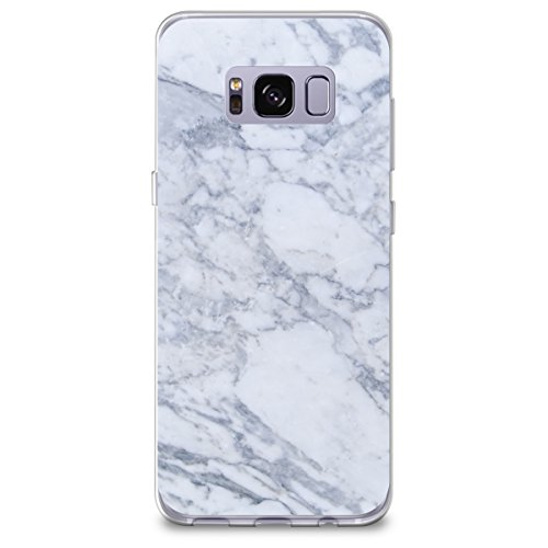 CasesByLorraine Samsung S8 Plus Case, [Full Coverage Screen Protector Included-NOT Glass] Gray Marble Print Case Flexible TPU Soft Gel Protective Cover for Samsung Galaxy S8 Plus (X03)