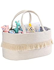 Large Baby Diaper Caddy Organizer - Portable Storage Basket Bin with Handles for Diapers