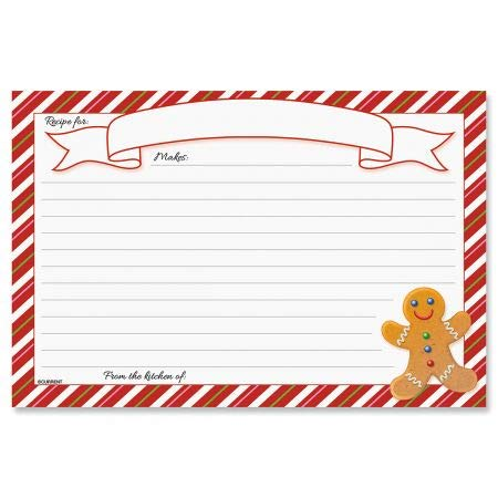 Holiday Recipe Cards- Set of 24 Lined Holiday Index Cards, 4