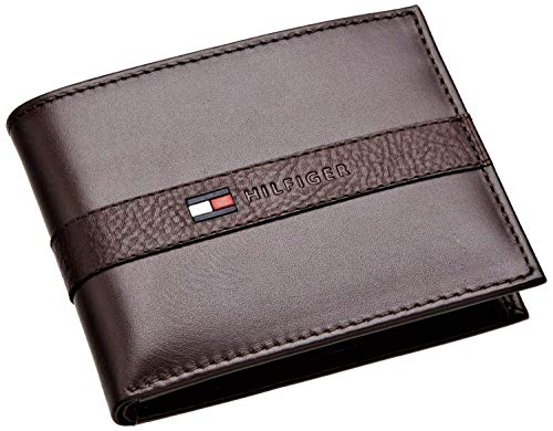 Tommy Hilfiger Men's Leather Wallet - Thin Sleek Casual Bifold with 6 Credit Card Pockets and...