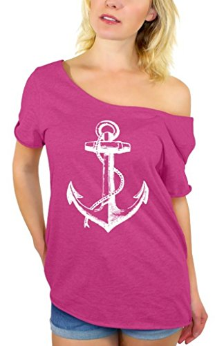 Awkwardstyles Women's Anchor White Off Shoulder Tops T-Shirt + Bookmark L Pink ()