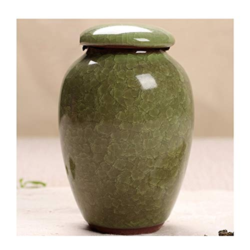 (Mini Funeral Urn Sealing Small Ceramics Memorial Urns for Human Ashes Adult or Pet Display Burial Urns at Home (Color : Light Green))