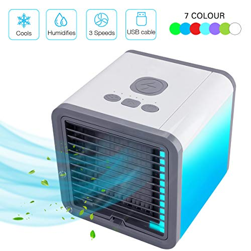 2019 Upgrade Version Personal Air Cooler, 3 in 1 Portable Air Conditioner Fan USB Coolers with Waterbox Humidifier with 7 Colors Night Light for Bedroom, Desktop,Office,Outdoor (Best Portable Evaporative Cooler 2019)