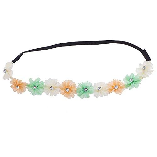 Lux Accessories Multi Mint Chiffon Rhinestone Flower Crown Headband Headwrap