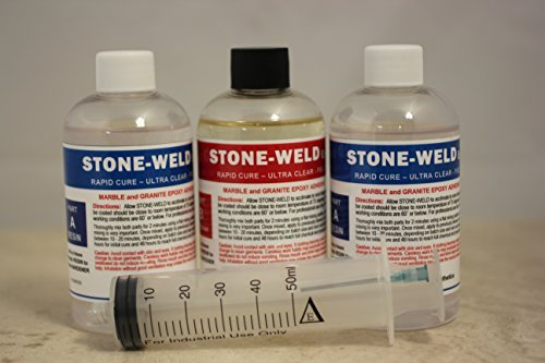 STONE-WELD Flowing 24oz Granite/Marble and Stone Flowing Grade Epoxy Adhesive / Glue for Counter Top Seam and Laminate repair with Injector