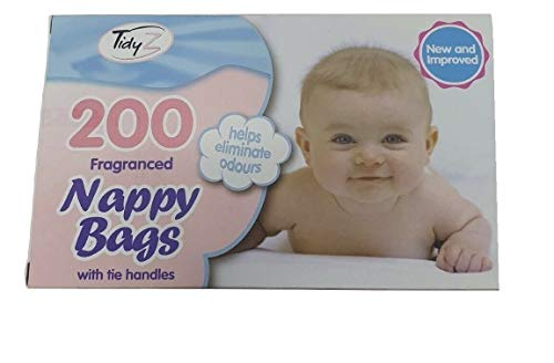 300/200 Disposable Nappy Bags Fragranced Baby Diaper Hygienic Tie Handle Sacks (300 Bags (1 Packet)))