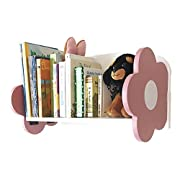 bbSmarts Floating Wall Shelf for Baby Nursery or Kid's Room - Unique Decorative Pink and White Flower Design