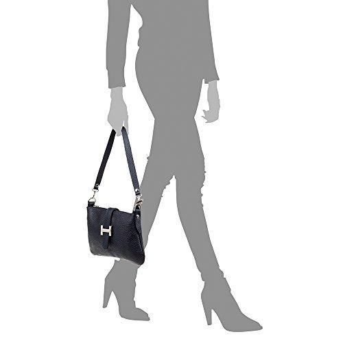 5x2 Color FIRENZE cm mujer tacto AZUL MADE Cartera PELLE suave acabado piel de Bolso NEGRO auténtica VERA de piel ITALY MARINO Dollaro ARTEGIANI 24x14 ITALIANA IN rqrSfBR
