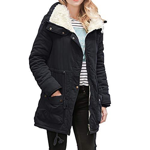 Womens Warm Long Down Coat Duseedik Collar Hooded Jacket Slim Winter Parka Outwear Coats -