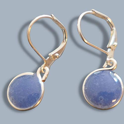 Handmade Lightweight Small Periwinkle Resin Drop Earrings on Leverback Beads by Bettina