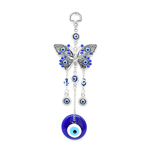 Studyset Turkish Polished Hanging Decoration Home Alloy Butterflies Blue Evil Eyes Glass Wall Decoration