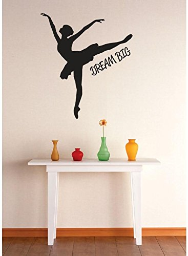 Design with Vinyl 2 Zzz 635 Decor Item Dream Big Ballerina Dancer Girls Kids Teen Quote Wall Decal Sticker, 16 x 16-Inch, Black