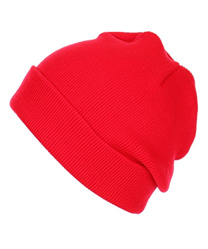 Red Kids Beanie (RufNTop Thick Plain knit Beanie Slouchy Cuff Toboggan Daily Hat Soft Unisex Solid Skull Cap(Red One Size))