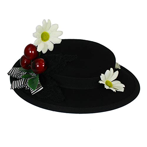 Largemouth Women's English Nanny Poppins Costume Hat (Black)]()