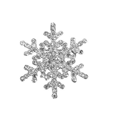 JczR.Y Rhinestone Snowflake Brooch Pins Winter Christmas Wedding Crystal Brooch Jewelry for Women (Silver)