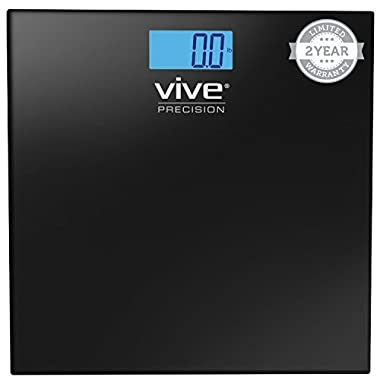 Digital Bathroom Scale by Vive Precision - Best Selling, Accurate Weight Scale - 2 Year Warranty (Black)