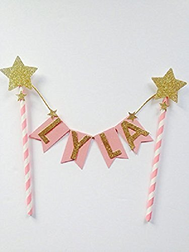 Pink & Gold Glitter Card Name Cake Topper Bunting - custom name topper, twinkle twinkle little star, 1st birthday, pink flower, cake topper, birthday cupcake topper - Twinkle Flowers