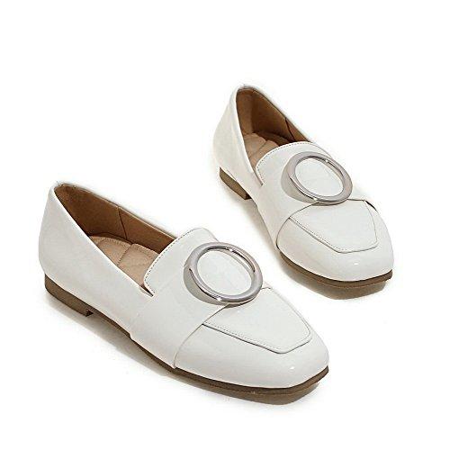 VogueZone009 Damen Lackleder Quadratisch Zehe Ziehen auf Gemischte Farbe Pumps Schuhe Weiß