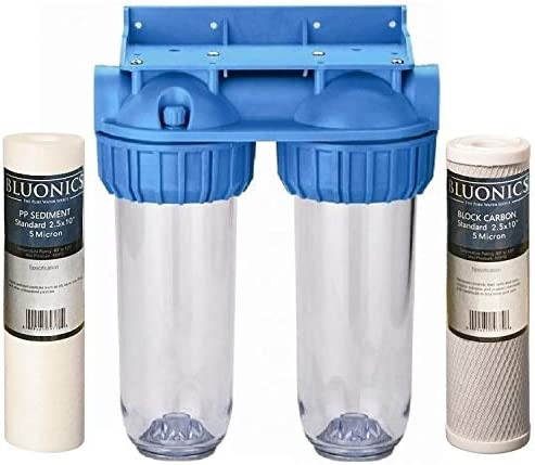 BLUONICS Dual Whole House Water Filter Purifier Carbon Block and Sediment Filters Included