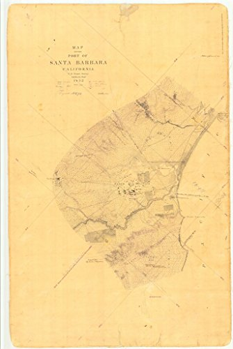 Vintography 24 x 36 Giclee Print Nautical Map Image Port Santa Barbara, CA 1852 NOAA -
