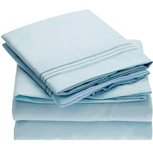 Mellanni Sheet Set Brushed Microfiber 1800 Bedding Wrinkle Fade Stain Resistant Hypoallergenic 4 Piece King Baby Blue