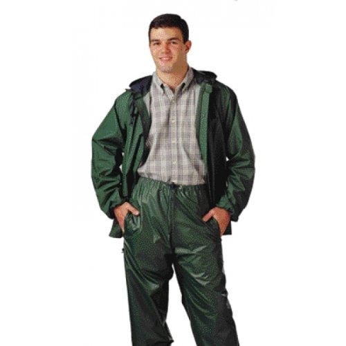 STORM-CHAMP S66218.MD 2 Piece PVC/Nylon Zipper Front Plain Pants with Attached Hood, Medium, Green