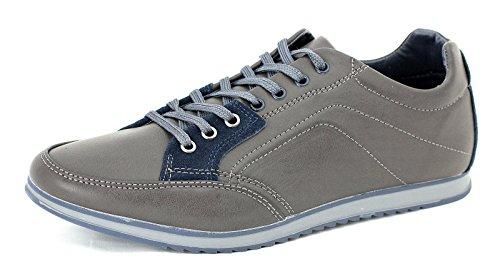 Hombre De Lona Casual Zapatillas Con Cordones Correr Caminar zapatillas RU 6 7 8 9 10 11 - Marrón/Azul marino, 7 UK / 41 EU
