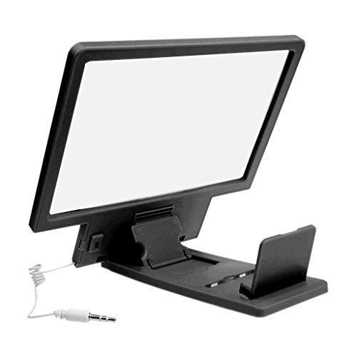 3D Enlarged Screen Glass Magnifier (Black) - 3