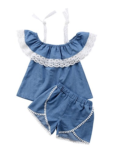 MA&BABY 1-6Yrs Toddler Kids Baby Girls Off Shoulder Lace Halter Tops + Shorts Outfits Clothes Set
