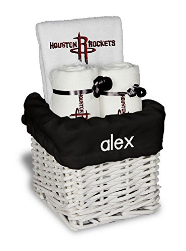 Designs by Chad and Jake Baby Personalized Houston Rockets Small Gift Basket One Size White
