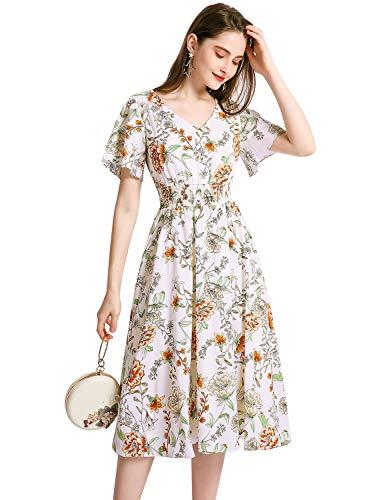 Gardenwed Floral Print Chiffon Summer Dresses for Women Flowy Midi Sundress Bohemian Beach Party Dress White Flower M]()