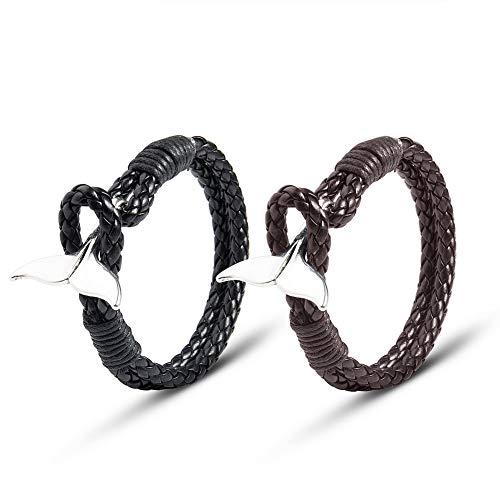 Wolentty Men's Matching Leather Bracelets Tail Double Wrap Clip Clasp Braided Nautical Bracelet for Boyfriend (Black & Brown)