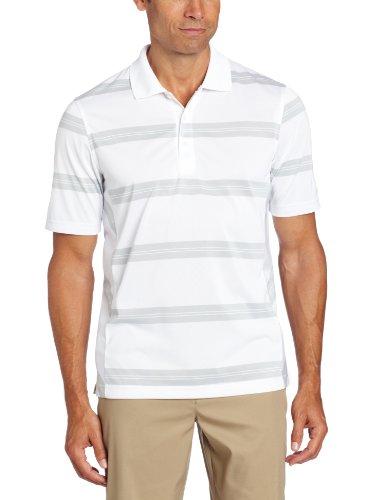 IZOD Men's Short-Sleeve Striped Golf Polo Shirt, Bright White, Small ()