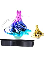 KIDDO KOO Tornado Spinning Tops - New Spinning top for Kids and Adults. A Great Decompression Toy forhome or The Office. Spins with Wind! Our Gyro Tops can Forever Spin (Aurora & Gold 2PK)